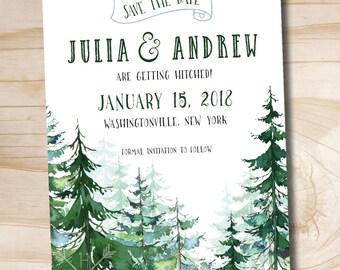 Watercolor Pine Tree Wedding Save the Date - Printed sample