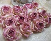 12 Medium Rose Cream Parchment Paper Roses Wedding Floral Decorations