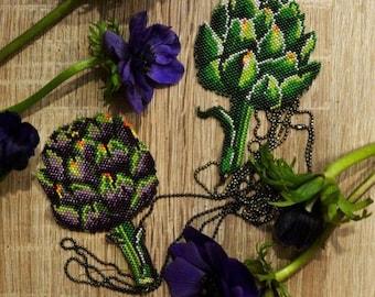 Purple artichoke charm necklace.Artichoke pendant.Vegetable charm.Food Jewelry. Vegan/Vegetarian gift. Veggie art. Unique jewelry. Botanical