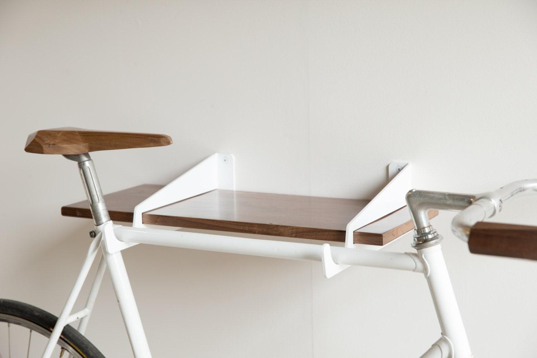 velostirrups wall mounted bike rack and shelf. Black Bedroom Furniture Sets. Home Design Ideas