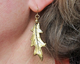 Earrings Real Leaf Red Oak Impression in Clay with Gold Patina on Hypallergenic Shepherds Hook Dangles