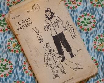 Vintage 1940s Vogue Sewing Pattern / Girls' Play Suit / Jacket Hood Trousers Slacks / 12 Years / 30 Chest