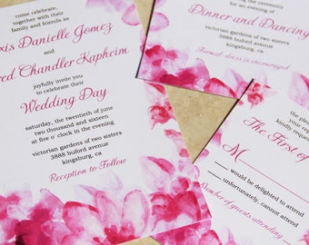 NEW! Floral Watercolor Wedding Invitation Set. Pink watercolor flowers wedding invitations. Flower image by freepik.com