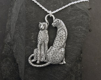 Sterling Silver Cheetah Pendant on a Sterling Silver Chain