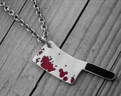 Bloody Butcher Knife Necklace Halloween Meat Cleaver Knife Hatchet Gothic Goth Horror Movie Jewelry Murder Weapon Serial Killer Slasher