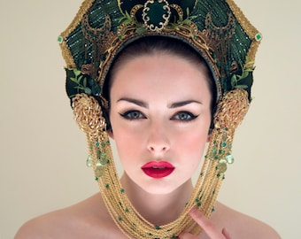 Green and Gold 'Alenia' Royal Crown Couture Kokoshnik Headdress