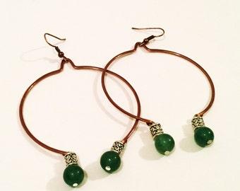 copper hoop earrings large hoop earrings copper earrings open circle earrings green aventurine jewelry aventurine jewelry gemstone earrings