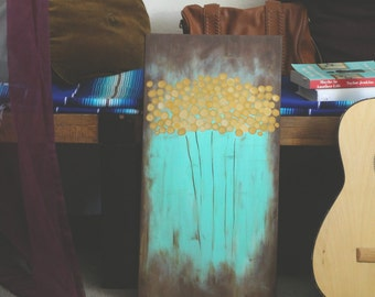 Day Dreamer // Mustard Gold / Turquoise / Abstract Painting