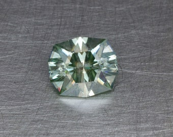 Light Blue-Green Moissanite 2.53ct Loose Lab Created Silicon Carbide Modern Faceted Cushion Gemstone