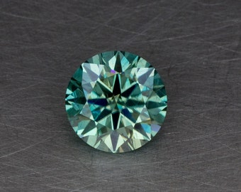 Blue-Green Moissanite 1.85ct Loose Lab Created Silicon Carbide Traditional Round Brilliant Gemstone
