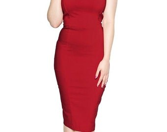 Vintage Style Red Halterneck Pencil/wiggle Dress Rockabilly Pin Up 50s