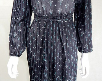 Original 1970s Vintage Black Floral Shirtwaister Dress UK Size 8