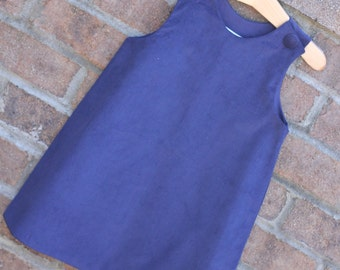 Girls Navy Corduroy Jumper Dress (Size 6 month to Girls Size 6) -- can be Monogrammed or Appliqued with purchase of upgrade