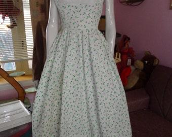 1950's Novelty ANCHORS Print Dress Shelf Bust Full Skirt 24 waist Sundress Nautical Cotton Pique Rockabilly VlV