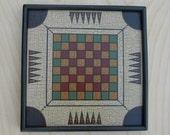 Primitive Wood Checkerboard / Carrom Game Board Folk Art Miniature Limited Edition Gameboard