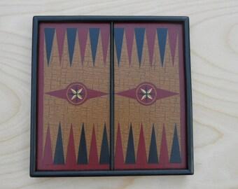 Primitive Wood Backgammon Game Board Folk Art Miniature Limited Edition Gameboard