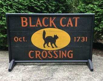 Black Cat Crossing Halloween Sign, Wood Black Cat Sign, Primitive Black Cat Sign, Vintage Black Cat, Halloween Primitive Cat Sign, Halloween