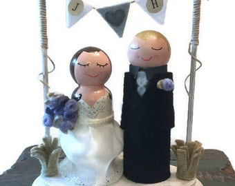 Bunting Wedding Cake Topper With Initials (Wedding Bunting) (Bride Groom Dolls) (Bride and Groom Wedding Cake Topper) (Wedding Flags)