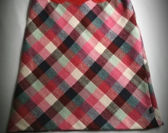 VINTAGE CHRISTIAN LACROIX 4/6 Plaid Wool Skirt - Red Leather Detail - Retro Lining