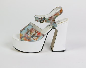 platform, chunky heel platforms, 90s vintage holgram holographic butterfly daisy rose flower strappy high heel sandals, womens 6 36 shoes
