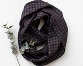 Black Brown Checked  Linen Circle Scarf natural eco