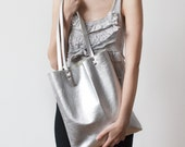 Silver Metallic leather Tote bag No.tlm- 102