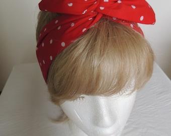Red Polka Dot Wire Headband, Red Bandana, Twist Head Scarf, Bunny Rabbit Ears, Head Band, Hat Band, Head Wrap, Hair Tie, Polka Dot Hair Band