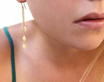 Three Leafs Dangle Earrings. Chain Drop Earrings. Leaf Earrings. Gold or Silver.