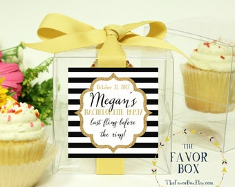 8 - Bachelorette Party Favor Cupcake Boxes - Sparkle Label Design-  bachelorettefavors, personalized cupcake box, cupcake favor box