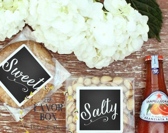 12 - Wedding Welcome Bag - Snack Bag Labels // Wedding Welcome Box - Snack Bag Labels // Sweet and Salty Labels - ANY COLORS