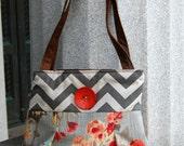 Handbag Purse Everyday Bag : Happy Garden with gray chevron and statement button