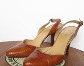 vintage Ralph Lauren slingback lizard pumps heels made in Italy sz 7 - 7.5