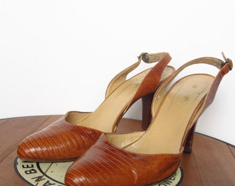 vintage Ralph Lauren slingback lizard pumps heels made in Italy sz 7 - 7.5