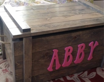 Wooden Toy Box / Blanket Chest with up to 5 monogram letters