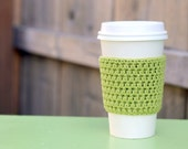 Crocheted Coffee Sleeve in light green- Coffee Cozy- Java Jacket
