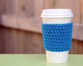 Crocheted Coffee Sleeve in Blue- Coffee Cozy- Java Jacket