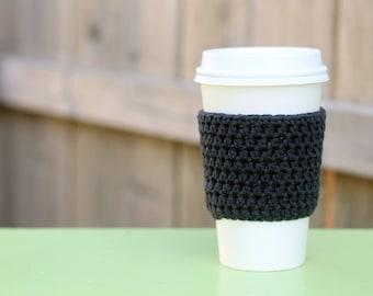 Crocheted Coffee Sleeve in Charcoal Gray- Coffee Cozy- Java Jacket