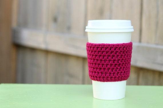 Crocheted Coffee Sleeve in Dark Pink- Coffee Cozy- Java Jacket