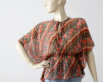 vintage 70s floral blouse, semi-sheer butterfly sleeve top