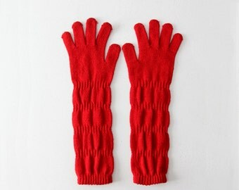 vintage red knit gloves, ruched long gloves