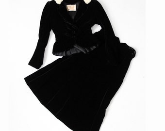 vintage 1930s velvet and fur suit, Rink's jacket and skirt