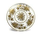 Paris Porcelain Platter / Gold Gilded Flowers / Hand Painted / Made in France / Artist Signed / c1950s