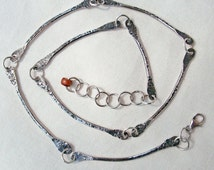 Sterling Silver Necklace Bar Link Chain 19 to 21 Inches Long Handmade