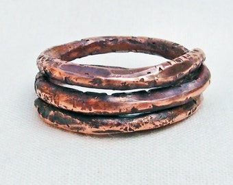 "Copper Spiral Coil Ring Size 7 ""B"" Hand Forged"