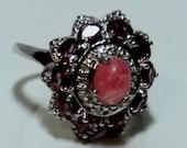 Argentinian Rhodochrosite  Rhodolite Garnet, Diamond Ring