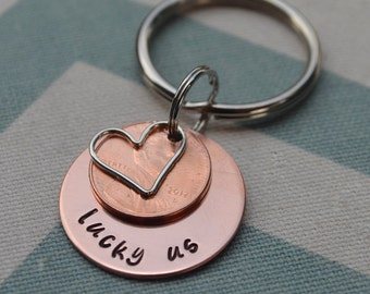 LUCKY US hand stamped key chain with pennies with heart