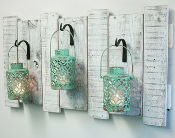 Shabby Turquoise Lanterns on upcycled wood board-Rustic decor, shabby chic  decor, home decor, cabin decor, large wall decor, large wall art