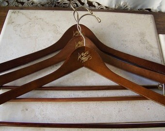Vintage Wood Hangers Lord & Taylor Suit and Trouser Dark Wood Hangers Mens Clothing Set of Three Coats Jackets Home Closet Rustic 1970s