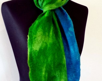 Green and Blue wet felted fine merino wool scarf 'Where the Forest meets the Sea'