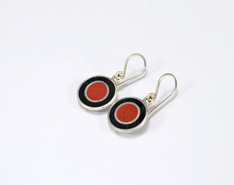 Sterling Silver Earrings, Black and Maroon, Circles, Fun, Modern, Contemporary, Minimal